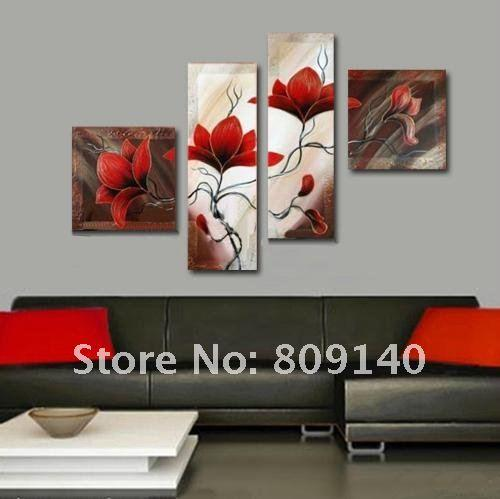 Oil Painting Canvas Red Flower Abstract Decorative Artwork Quality Handmade Modern Home Hotel Office Wall Art Decor Gallery Oil Painting Canvas Red Flower