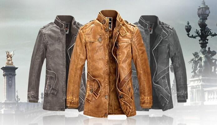 2015 New Rushed Fashion Motorcycle Leather Jacket Men Winter Thick Warm Vintage PU Leather Jackets Military Mens Trench Coat Online with $67.02/Piece on