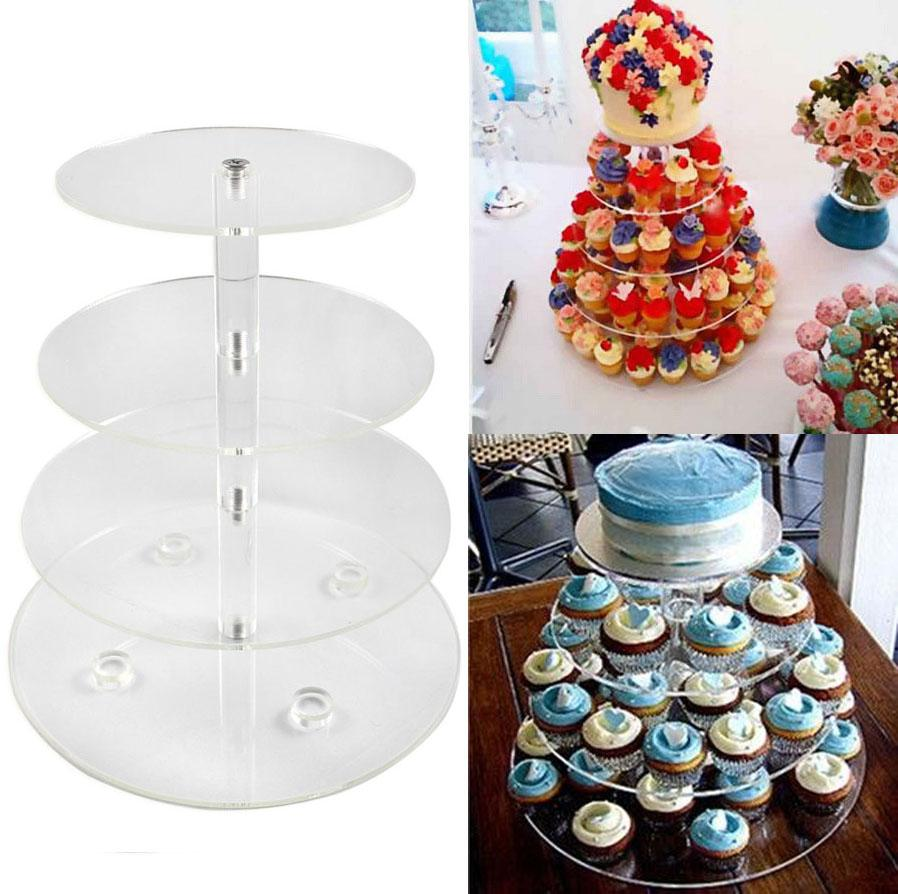 Decorative Cake Stands 4 Tier Circle Acrylic Cupcake Stands Crystal Clear Wedding Party