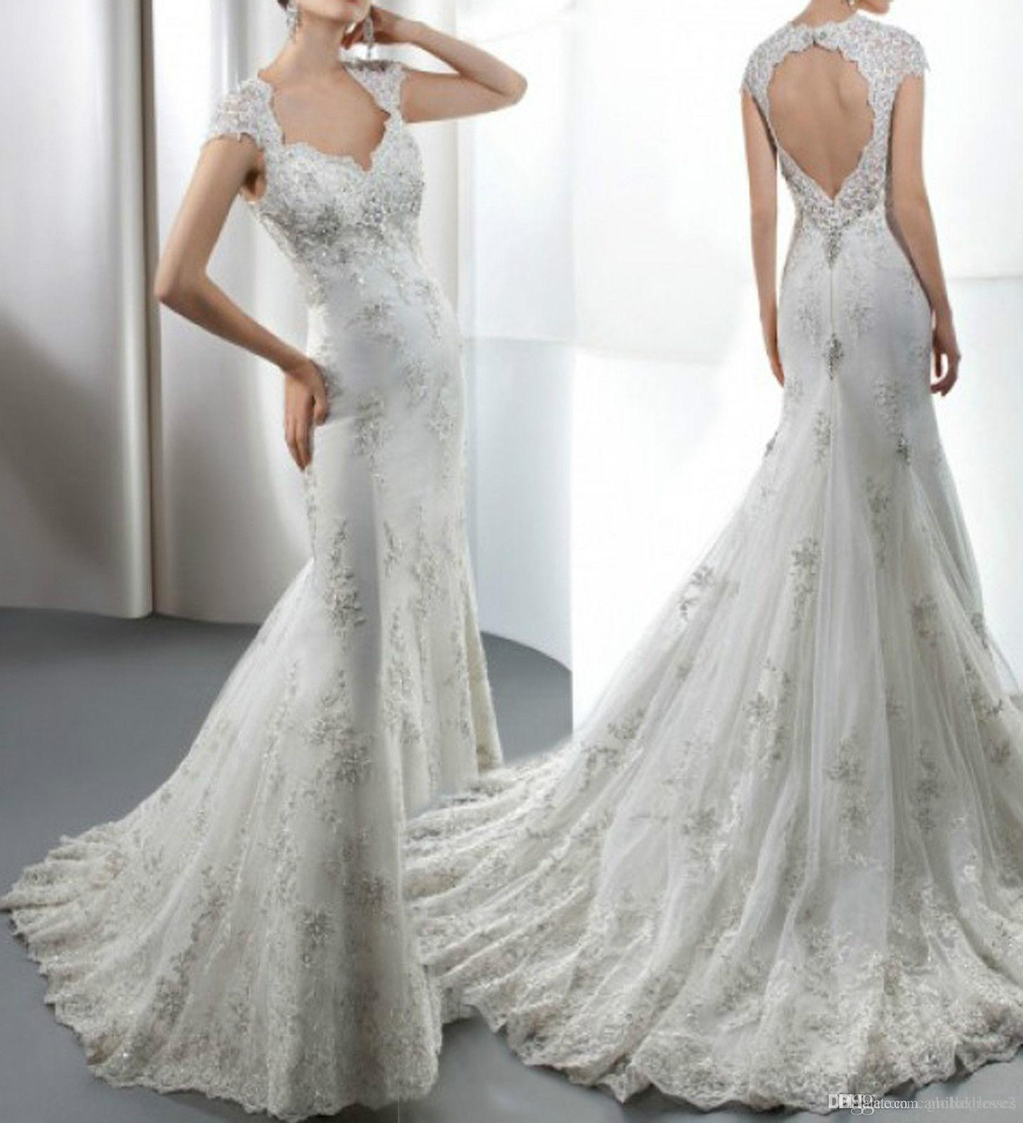 2016 Crystal Lace Beaded Mermaid Wedding Dresses Designer