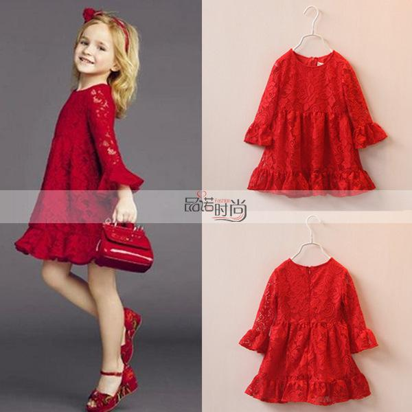 2017 2015 Girls Summer Hollow Lace Red Dress Child Loose Long ...