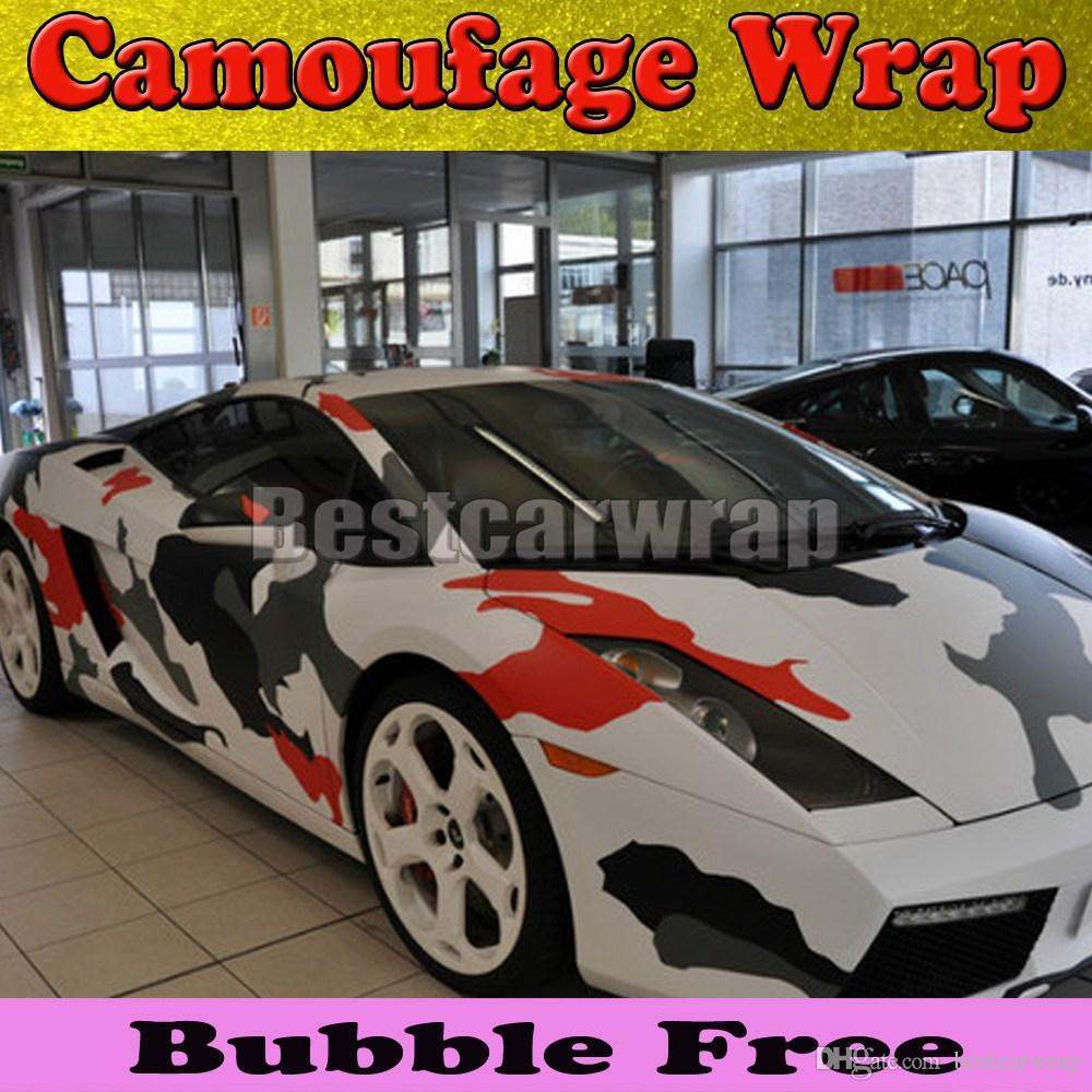 Car Vinyl Wrap Cost >> 2017 Large Camo Red Arctic Camo Vinyl Car Wrap Film With ...