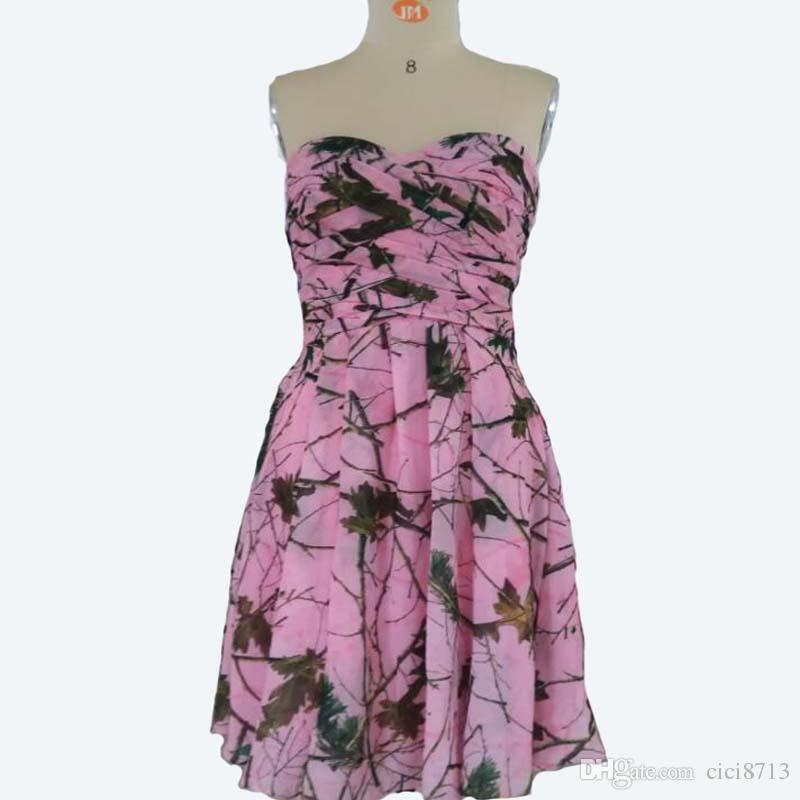 Camo dresses pink real tree pattern chiffon wedding party for Red camo wedding dresses