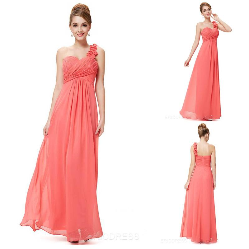 2015 Coral Bridesmaid Dresses Long Chiffon Pleated One Shoulder ...