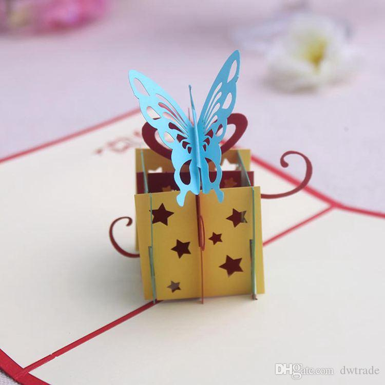 Dhl 2015 Hot 3d Handmade Card Happy Birthday Butterfly Gift – Creative Birthday Card Messages