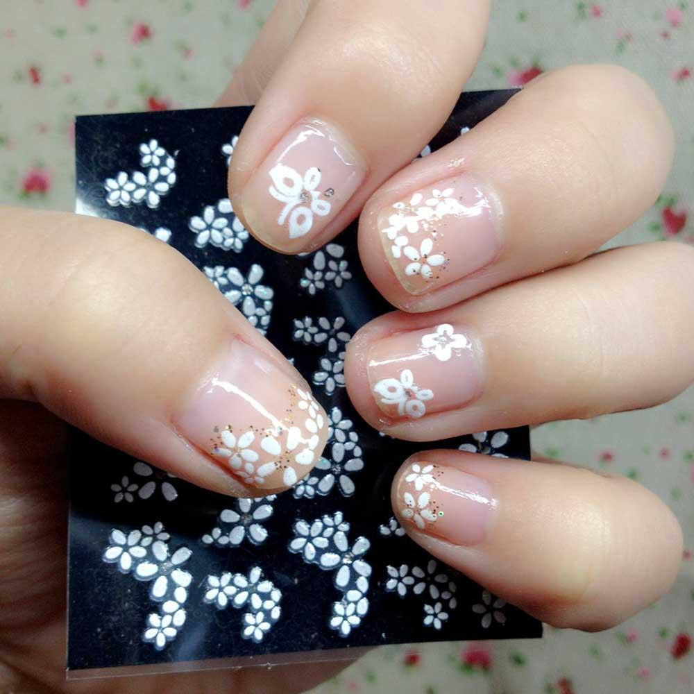 3d Nail Art where to buy 3d nail art supplies : 30 Sheets Floral Design 3D White Nail Art Stickers Decals Manicure ...