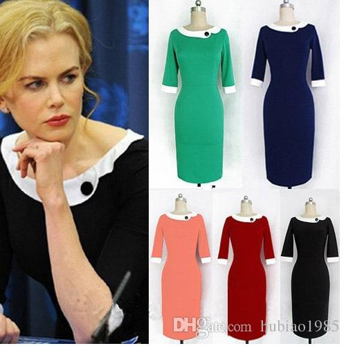 Plus Size European Women Work Dresses Pencil Dress Women's 2015 ...