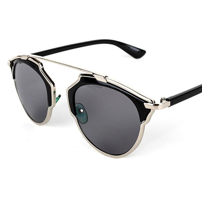 Cat Eye Shaped Black Metal Sunglasses