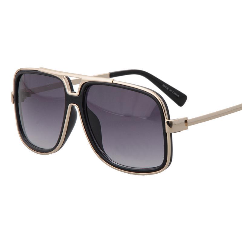 2017 New Big Frame Square Sunglasses Men Metal Flat Top ...