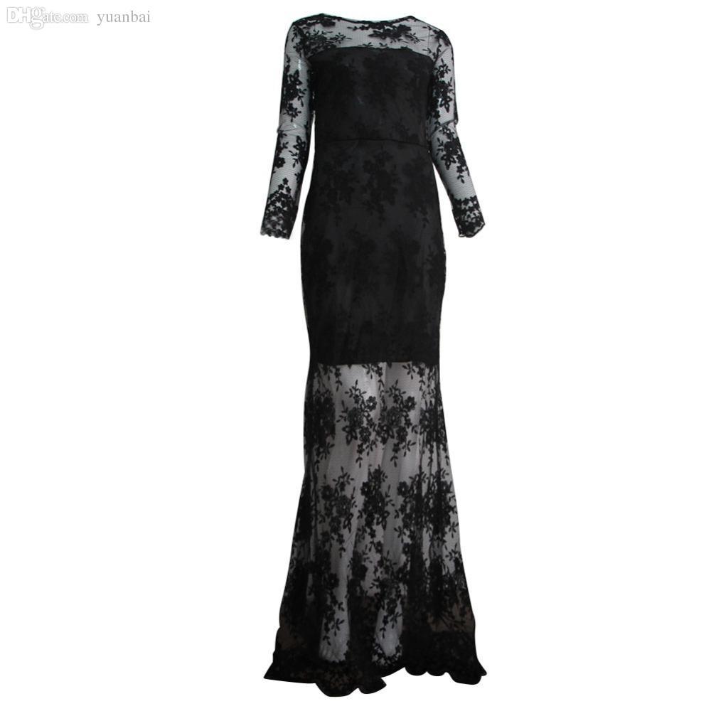 Wholesale Women Sexy Lace Slit Backless Long Dress Crochet Floor ...