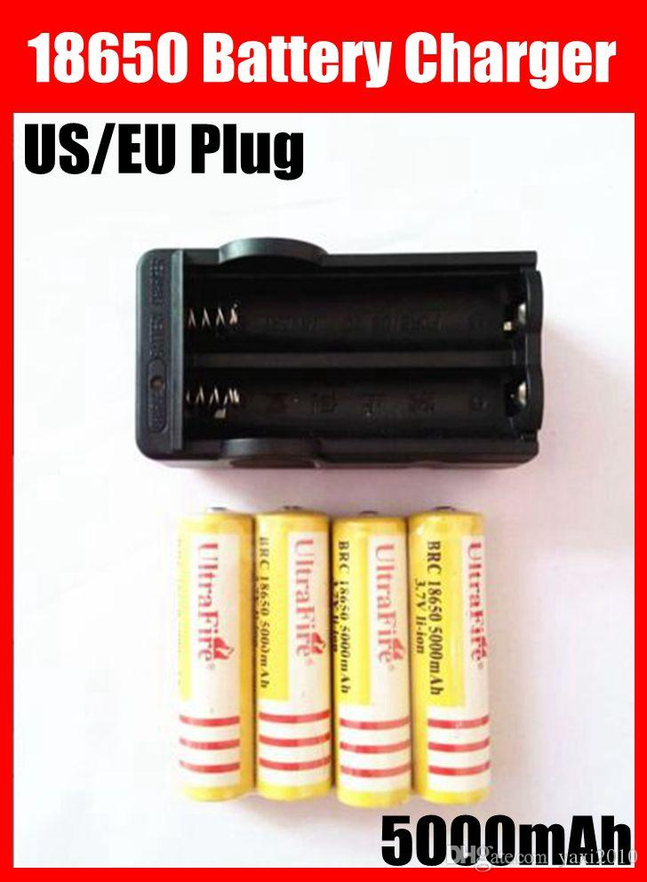 4pcs UltraFire 18650 batteries 3.7V 5000mAh Batterie Li-ion rechargeable + Charg