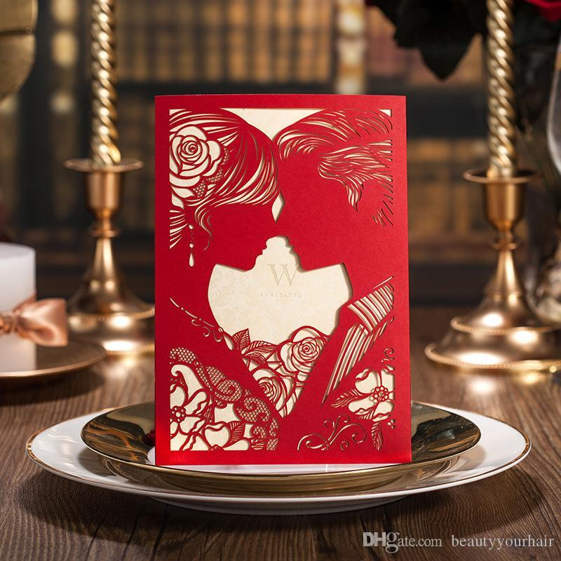 Customized Printing Laser Cut Red White Hollow Out Bride And Groom – Red and White Wedding Invitations