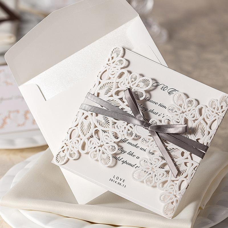 Wedding Invitations Cards Sweet Wedding Greeting Cards Chic White