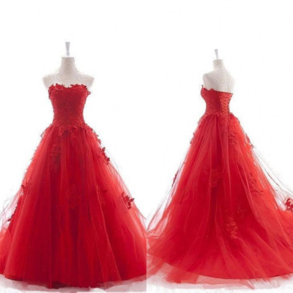 Real image red wedding dresses christmas ball gown sweetheart