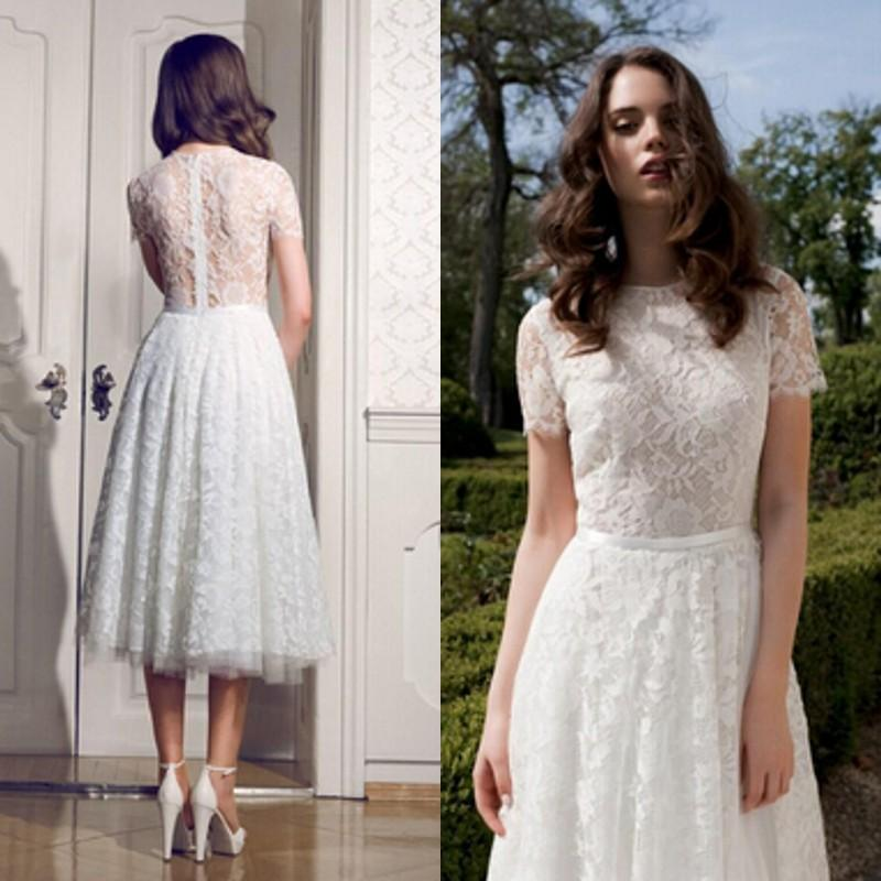 Casual Afternoon Tea Length Wedding Dresses - Wedding Short Dresses