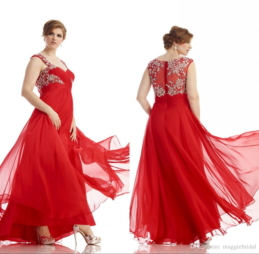 Plus Size Long Red Evening Dress For Fat Women A Line See Through ...