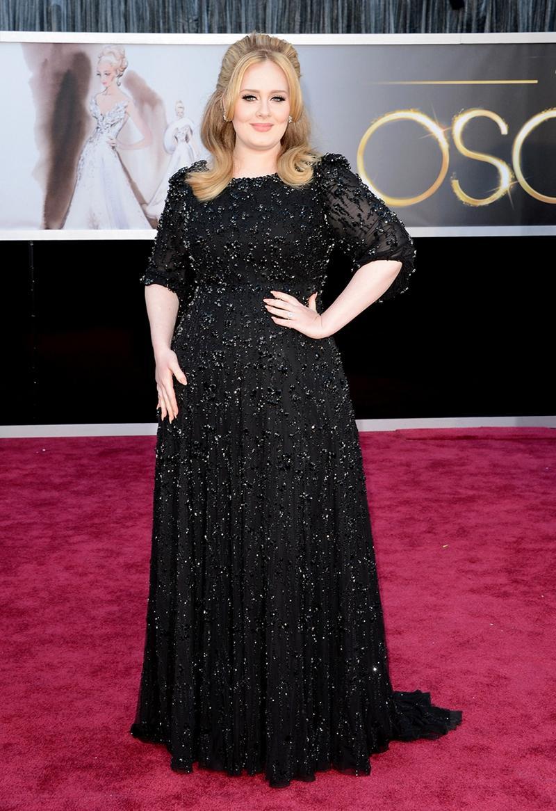 Plus Size Black Adele Adkins Celebrity Red Carpet Dresses 2015 ...