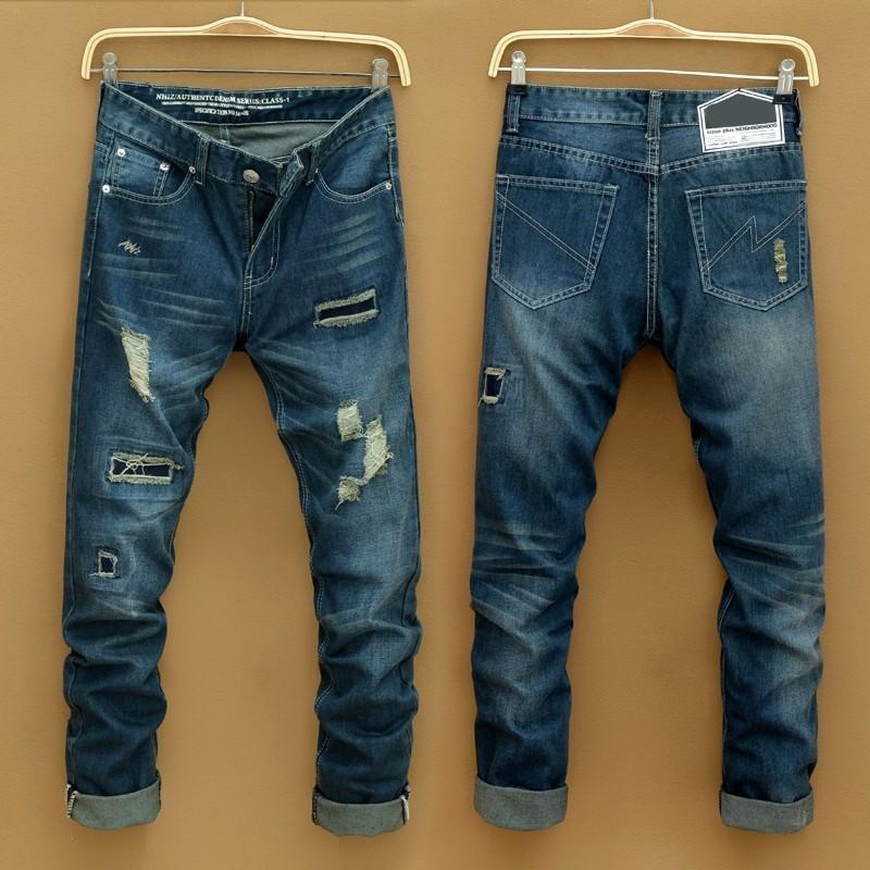 2015 Men&39s Long Straight Ripped Jeans Vintage Hole Ripped Denim