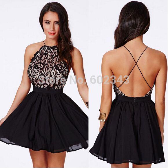 2015 Sex Women Little Black Dress Backless Crochet Patchwork ...