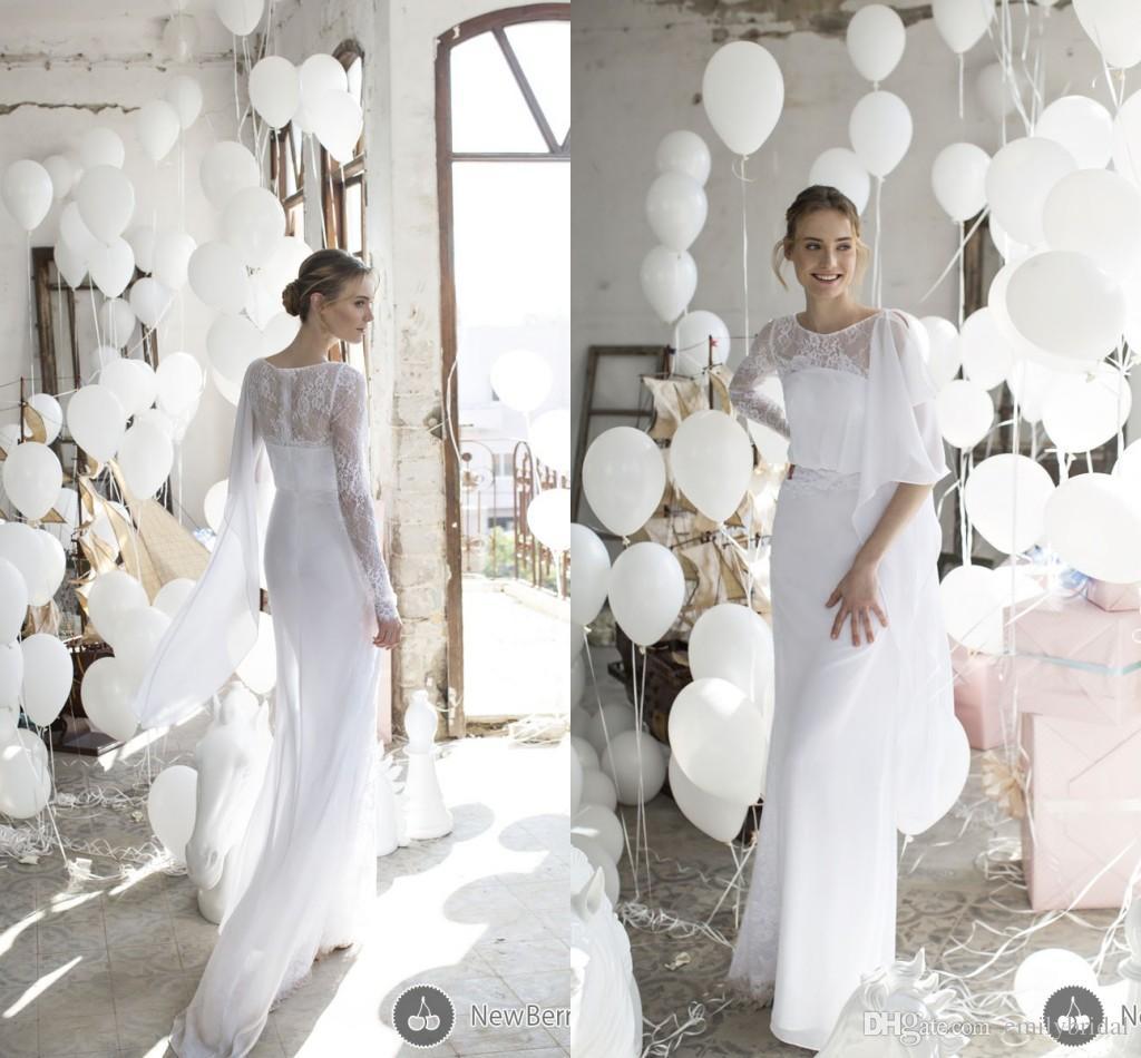 New Design Greek Style Sheath Wedding Dresses Long Sleeves