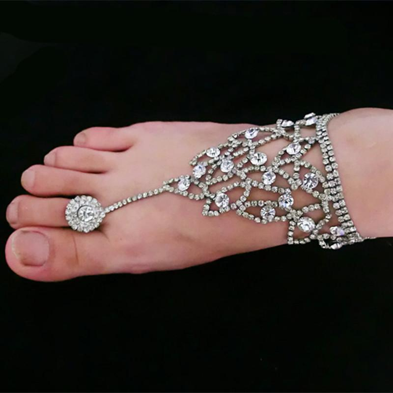 2016 Summer Rhinestone Barefoot Sandals Beach Bridal Foot Chains Jewelry Ankle Bracelet With Toe