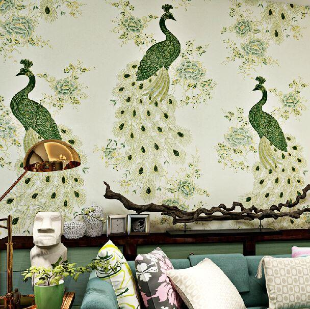 Chinese Style Wallpaper Mural Fantasias Papel De Parede Wall Papers Home Decor Peacock 3d Wall Paper