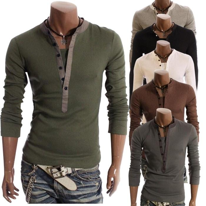 New False Two-piece Show Body Mens Slim Fit Long Sleeves Shirts ...