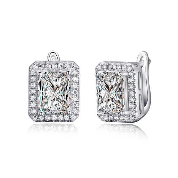 ORSA New Arrival 2 ct Emerald Cut Cubic Zircon Boucles d'oreille Stud 925 Boucle