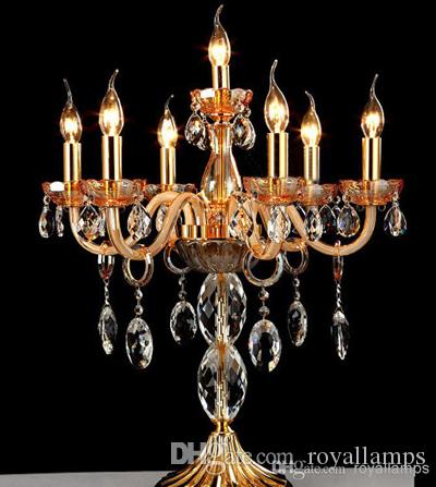 7 Arms Large Crystal Candelabra Lamps Gold Clear Restaurant Led ...