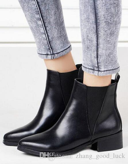 2015 Celeb Style Patchwork Black Leather Boots Low Heel Ankle ...