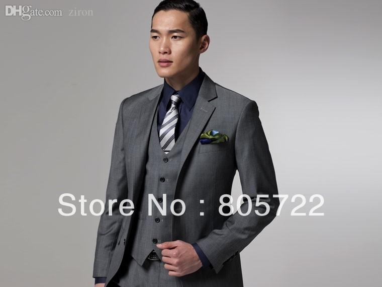 2017 Wholesale Custom Made Grey Suit With Vest Wool Suit Business ...