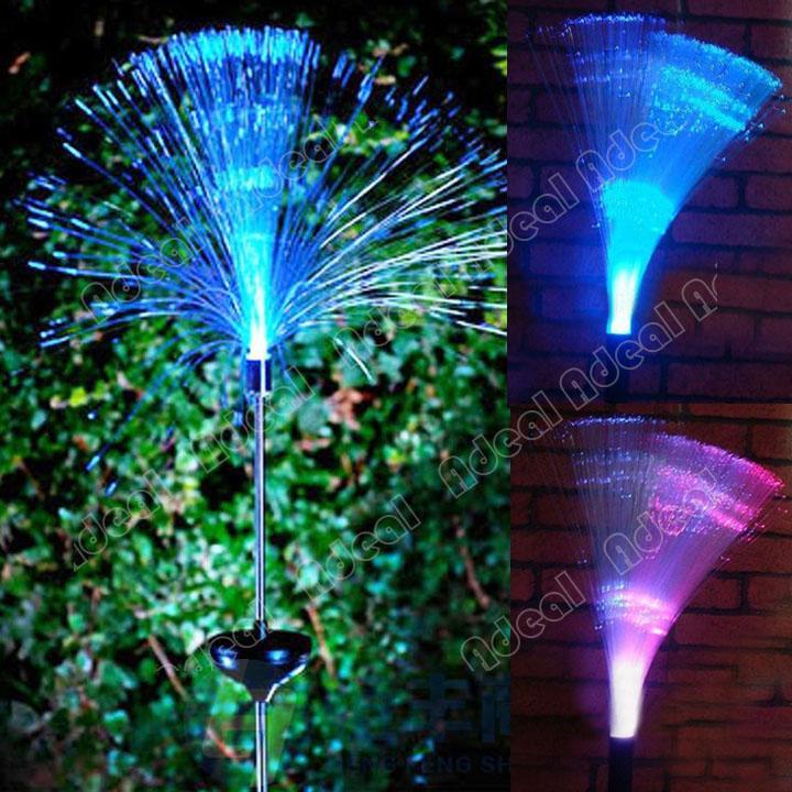 new color changing fiber optic led solar powered light outdoor garden. Black Bedroom Furniture Sets. Home Design Ideas