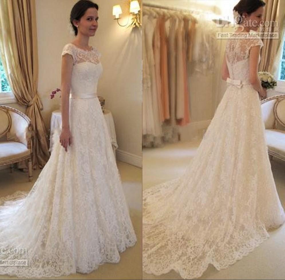 Discount 2015 vintage a line lace wedding dresses bateau A line lace wedding dress uk