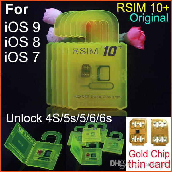 Original RSIM 10+ rsim 10 + R-sim 10+ thin unlock card for ios9.X IOS8 IOS7 iphone 6s 6 5s 5 4s AT&T T-mobile Sprint WCDMA GSM CDMA 3G 4G