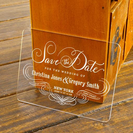 100Personalised Engraved Acrylic Damask Save the Date Wedding – Cheap Wedding Save the Date