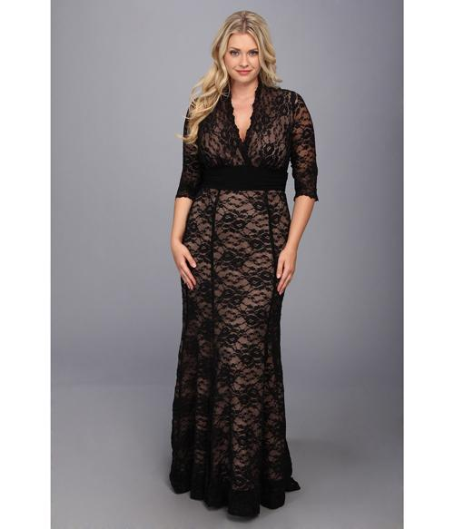 Plus Size Evening Dresses With Sleeves Black Lace Mermaid V Neck ...