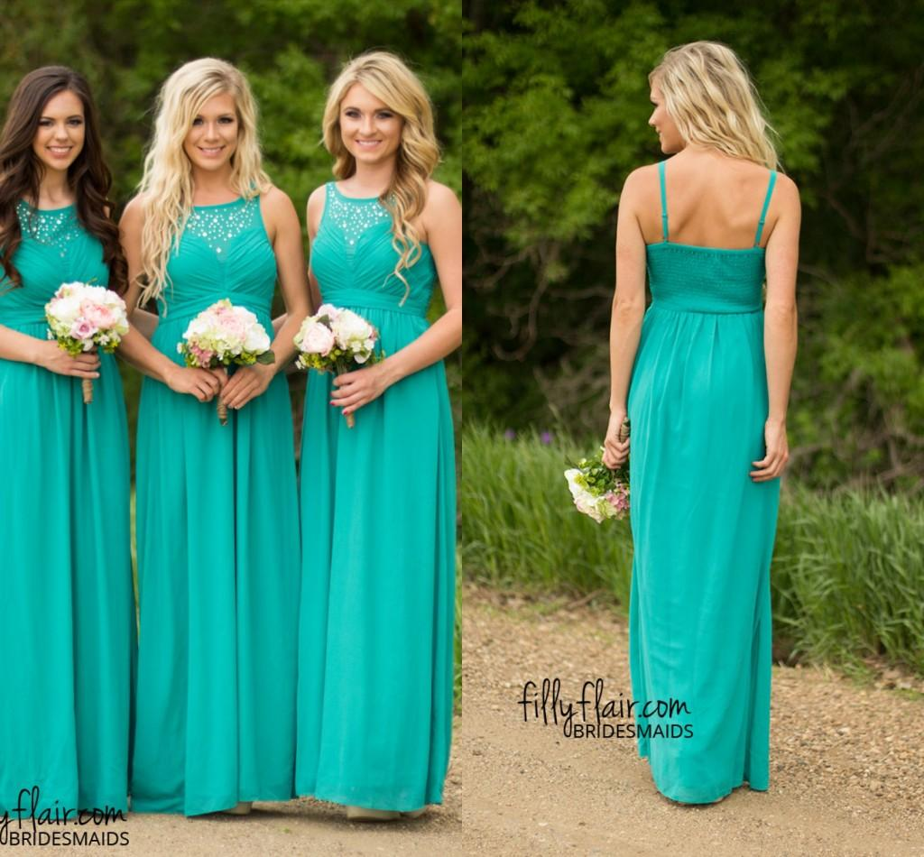 Long or short bridesmaid dresses for beach wedding for Green beach wedding dresses