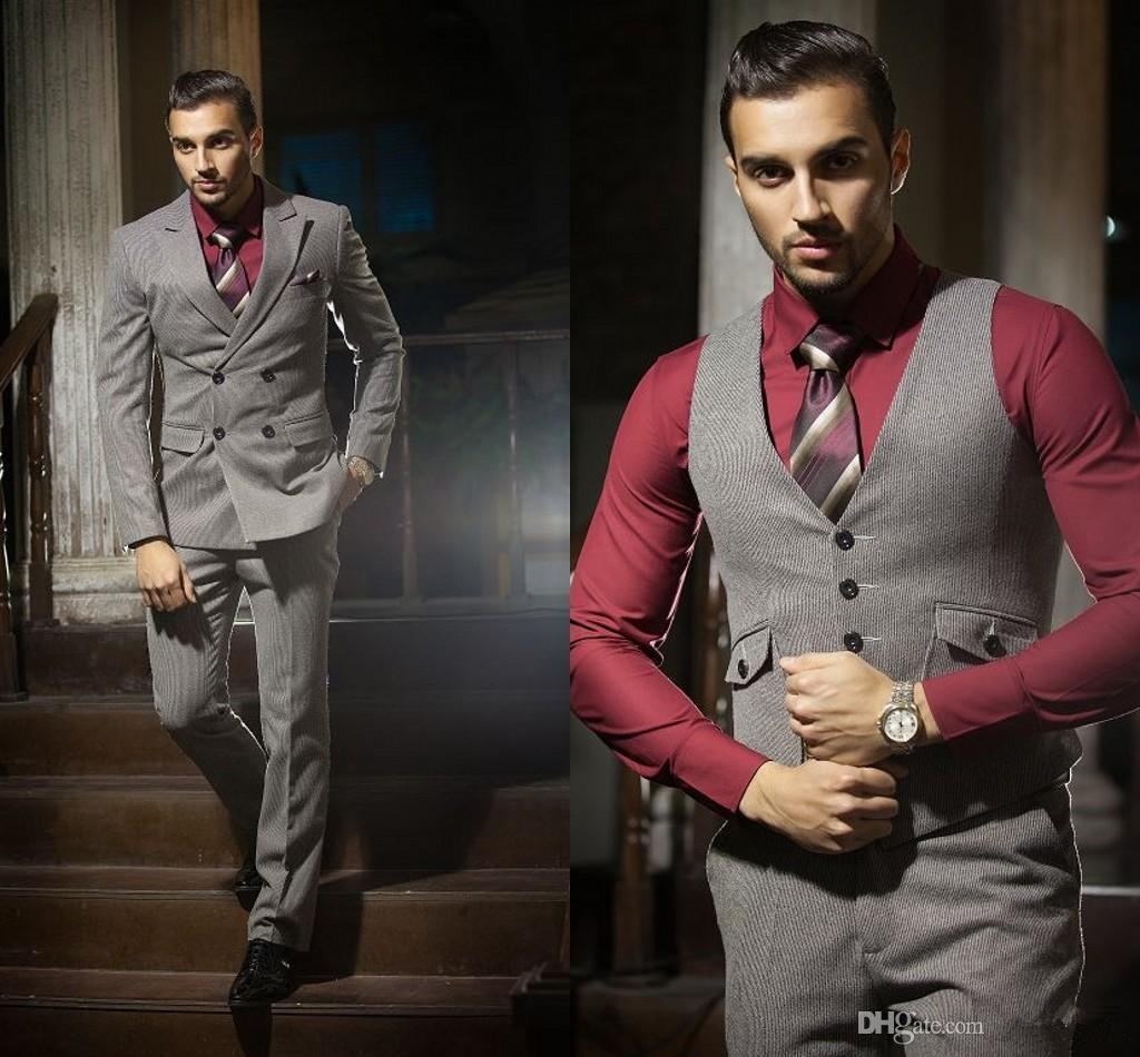 Luxury Grooms Suit Burgundy Shirt Mature Business Men'S Suit Four ...