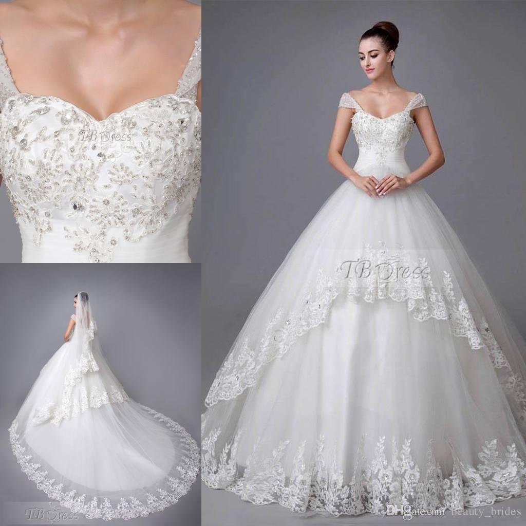 Portrait cathedral train 2015 wedding dresses applique for Custom made wedding dresses nyc