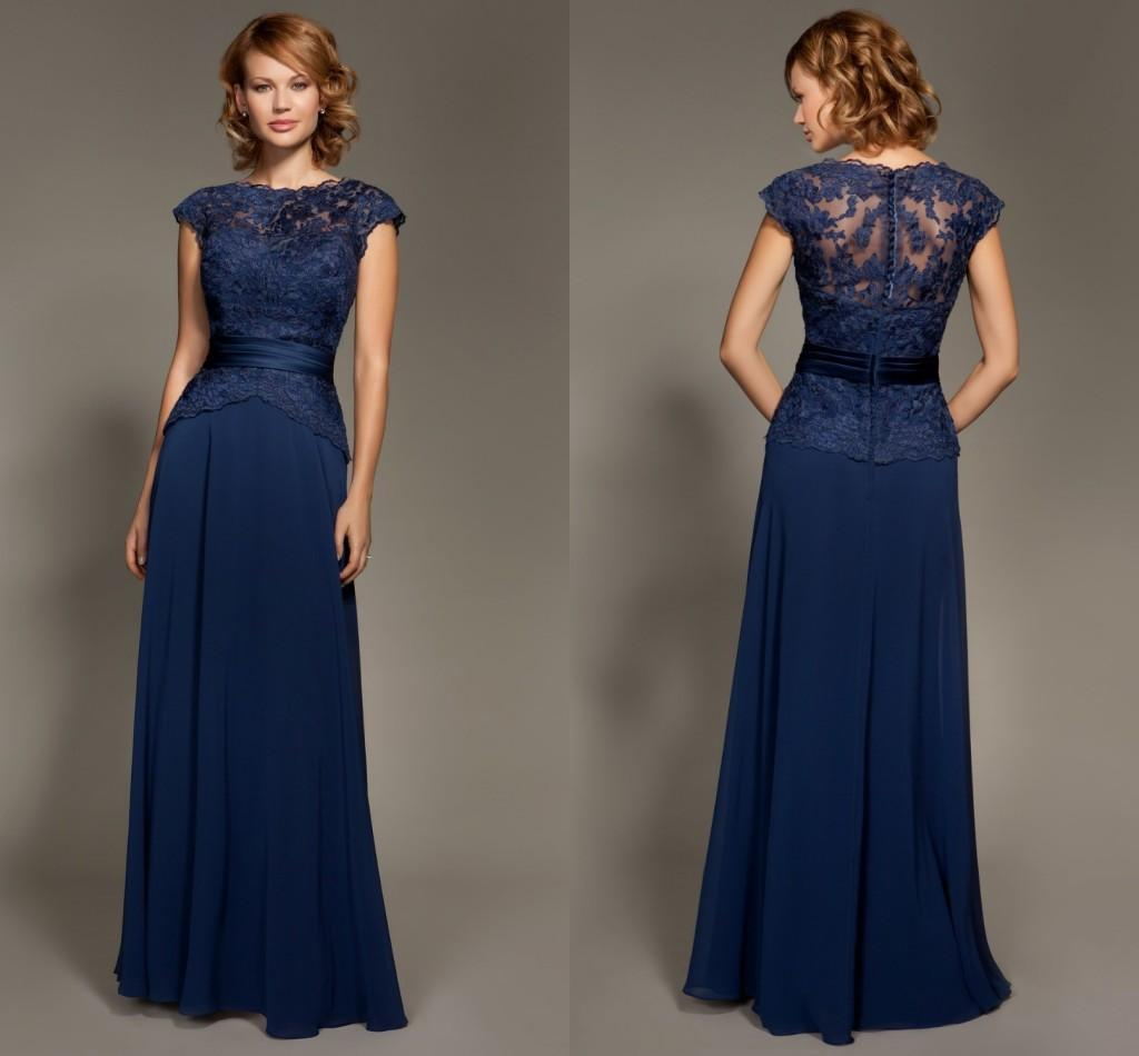 Elegant lace bridesmaid dresses navy blue formal dresses for Blue wedding dress with sleeves