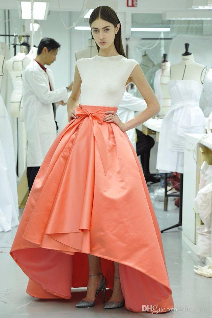 Coral High Low Skirts Long Satin Zipper Waist Custom Made Dresses ...