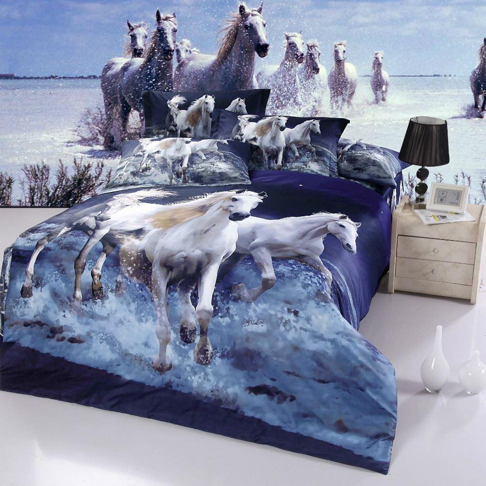 Wedding bed sheet set - On Sale 100 Cotton Gallop Running Horses Animal 3d Oil Painting Effect 4pcs Bedding Set