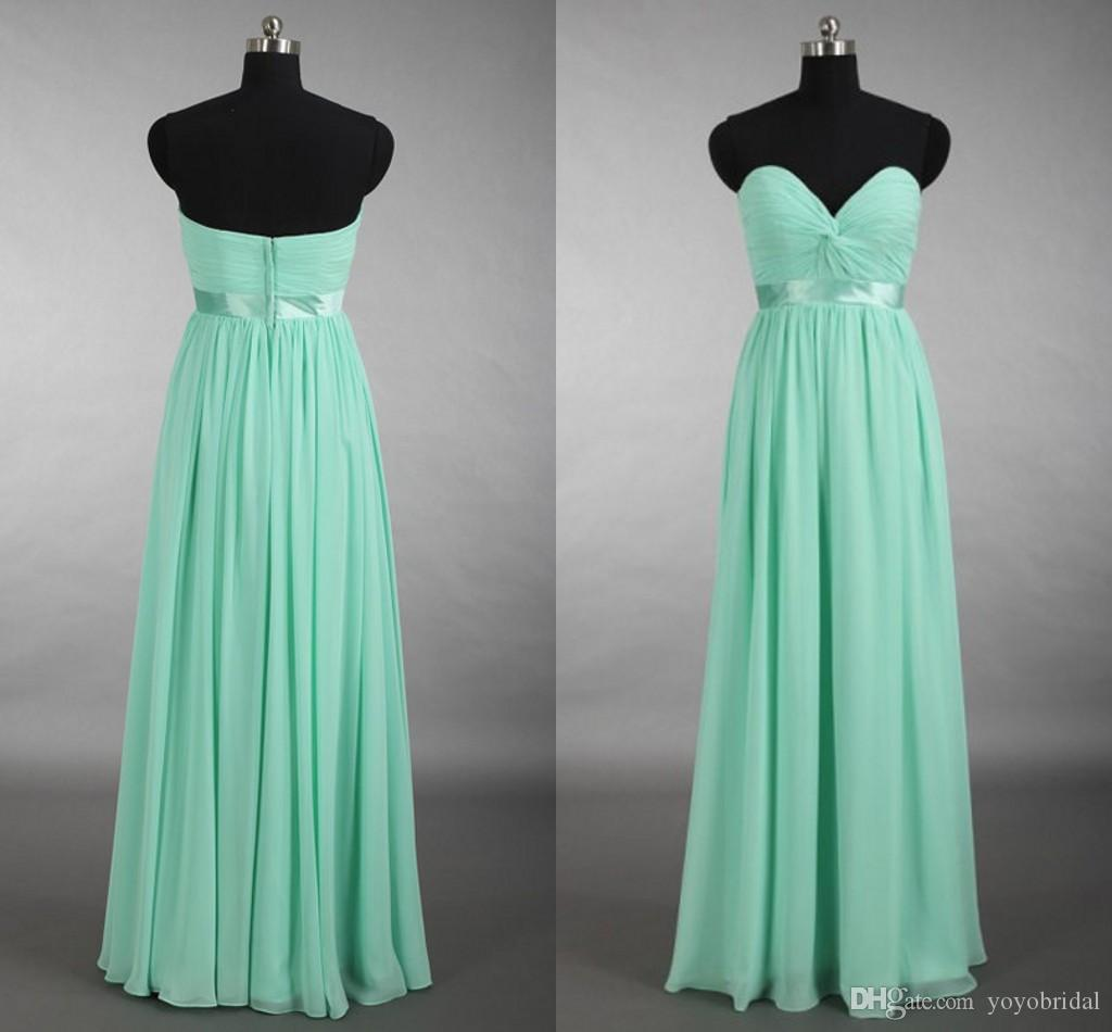 Light Green Bridesmaid Dresses Sweetheart Backless Long