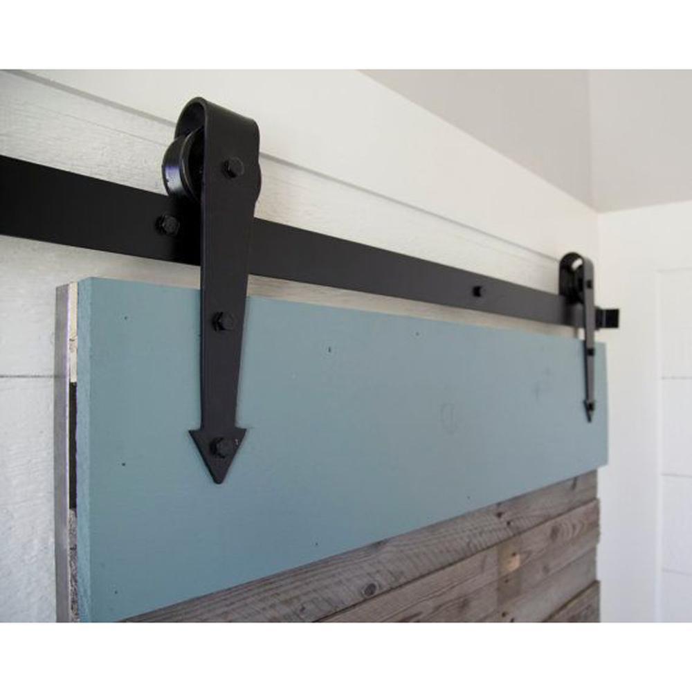 2017 16ft Arrow Stylish Antique Black Wooden Double Sliding Barn Closet Door Heavy Duty Modern