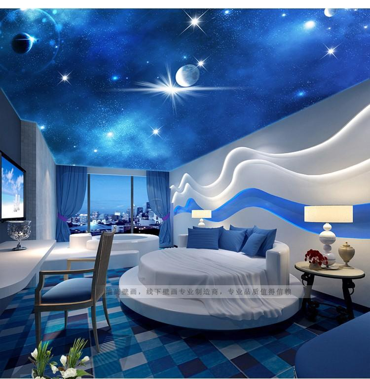 3d stereoscopic large living room ceiling mural bedroom for Images of 3d wallpaper for bedroom