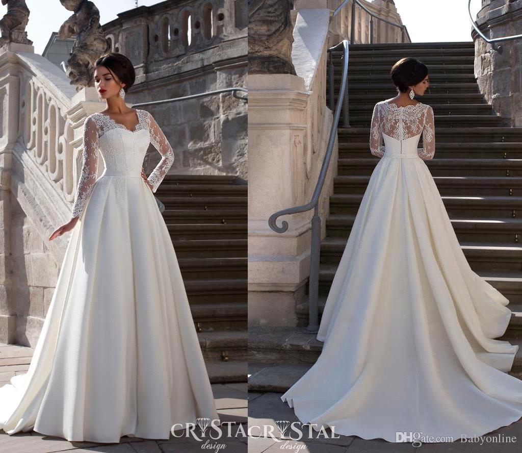 2016 New High Quality A Line Lace Wedding Dresses V Neck