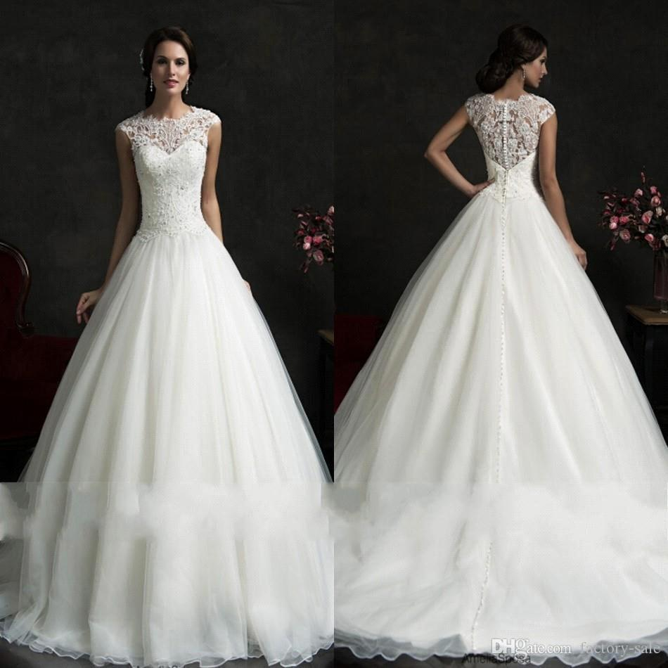Amelia sposa sheer top lace a line organza wedding dresses 2016 spring