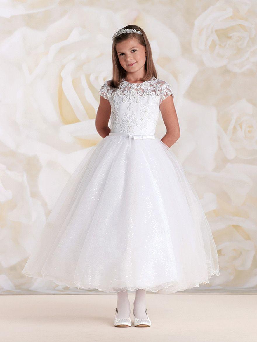 2015 Elegant White Holy First Communion Dress Sheer Neck ...