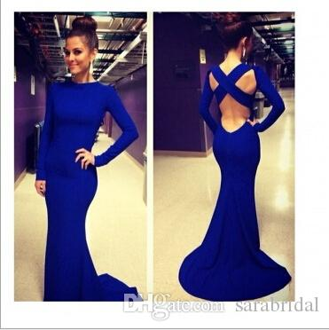 2016 Royal Blue Evening Dresses With Long Sleeve Jewel Satin Sexy ...