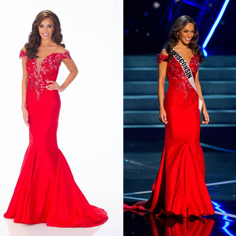 2015 Miss Usa Pageant Dresses Sexy Off Shoulder Sheer Beads ...